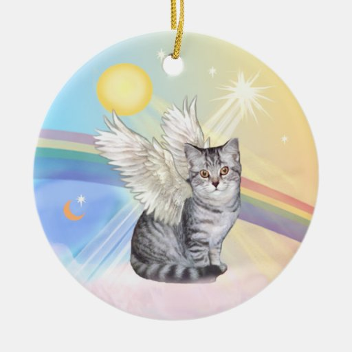 White Cat Angel Ornament