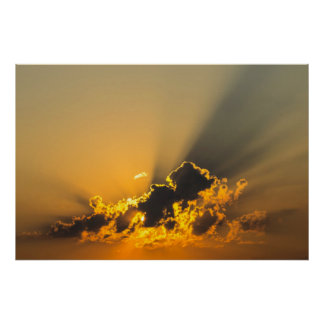 Clouds, Sky & Yellow Sunset Poster