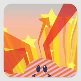 Clouds Stars and Arrows Square Sticker