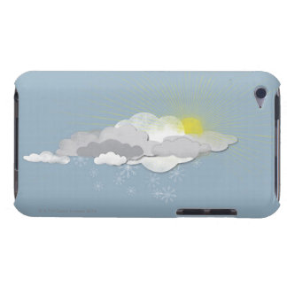 Clouds, Sun and Snowflakes iPod Touch Case