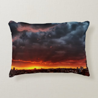 Clouds, Sunset And Red Decorative Pillow