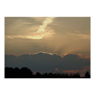 Clouds Sunset Night Landscape, poster