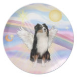 Clouds - Tri Color Australian Shepherd Angel Party Plate