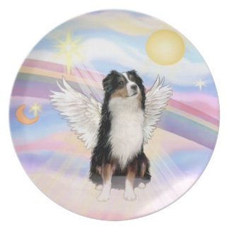 Clouds - Tri Color Australian Shepherd Angel Party Plate
