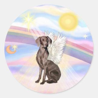 Clouds - Weimaraner Angel Classic Round Sticker