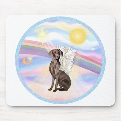 Clouds - Weimaraner Angel Mouse Pad