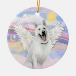 Clouds - White German Shepherd Double-Sided Ceramic Round Christmas Ornament