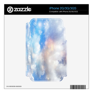 Clouds Wings of Gold and Silver Decal For iPhone 3