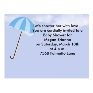 Clouds with Umbrella Baby Shower Invitation Postcard