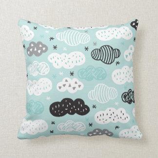 Cloudy baby blue aztec sky dreams throw pillow