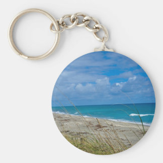 Cloudy Beach at Coral Cove Basic Round Button Keychain