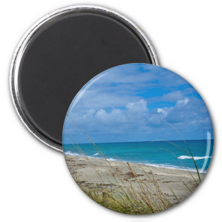 Cloudy Beach at Coral Cove 2 Inch Round Magnet