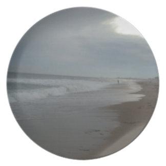 Cloudy Beach Day Melamine Plate