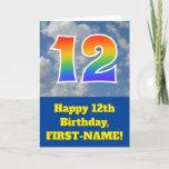 "[ Thumbnail: Cloudy Blue Sky, Rainbow Pattern ""12"" Birthday # Card ]"