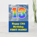 "[ Thumbnail: Cloudy Blue Sky, Rainbow Pattern ""13"" Birthday # Card ]"