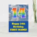 "[ Thumbnail: Cloudy Blue Sky, Rainbow Pattern ""14"" Birthday # Card ]"