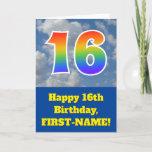 "[ Thumbnail: Cloudy Blue Sky, Rainbow Pattern ""16"" Birthday # Card ]"