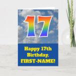 "[ Thumbnail: Cloudy Blue Sky, Rainbow Pattern ""17"" Birthday # Card ]"