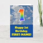 "[ Thumbnail: Cloudy Blue Sky, Rainbow Pattern ""1"" Birthday # Card ]"
