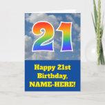 "[ Thumbnail: Cloudy Blue Sky, Rainbow Pattern ""21"" Birthday # Card ]"