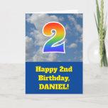 "[ Thumbnail: Cloudy Blue Sky, Rainbow Pattern ""2"" Birthday # Card ]"