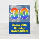 "[ Thumbnail: Cloudy Blue Sky, Rainbow Pattern ""30"" Birthday # Card ]"