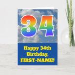 "[ Thumbnail: Cloudy Blue Sky, Rainbow Pattern ""34"" Birthday # Card ]"