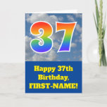 "[ Thumbnail: Cloudy Blue Sky, Rainbow Pattern ""37"" Birthday # Card ]"