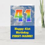 "[ Thumbnail: Cloudy Blue Sky, Rainbow Pattern ""41"" Birthday # Card ]"