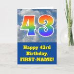"[ Thumbnail: Cloudy Blue Sky, Rainbow Pattern ""43"" Birthday # Card ]"