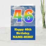 "[ Thumbnail: Cloudy Blue Sky, Rainbow Pattern ""46"" Birthday # Card ]"