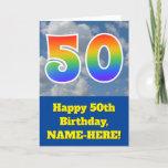 "[ Thumbnail: Cloudy Blue Sky, Rainbow Pattern ""50"" Birthday # Card ]"