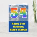 "[ Thumbnail: Cloudy Blue Sky, Rainbow Pattern ""54"" Birthday # Card ]"