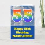 "[ Thumbnail: Cloudy Blue Sky, Rainbow Pattern ""55"" Birthday # Card ]"