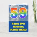 "[ Thumbnail: Cloudy Blue Sky, Rainbow Pattern ""59"" Birthday # Card ]"