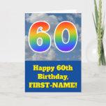 "[ Thumbnail: Cloudy Blue Sky, Rainbow Pattern ""60"" Birthday # Card ]"