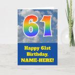"[ Thumbnail: Cloudy Blue Sky, Rainbow Pattern ""61"" Birthday # Card ]"
