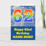 "[ Thumbnail: Cloudy Blue Sky, Rainbow Pattern ""62"" Birthday # Card ]"