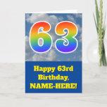 "[ Thumbnail: Cloudy Blue Sky, Rainbow Pattern ""63"" Birthday # Card ]"