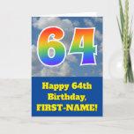 "[ Thumbnail: Cloudy Blue Sky, Rainbow Pattern ""64"" Birthday # Card ]"