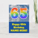 "[ Thumbnail: Cloudy Blue Sky, Rainbow Pattern ""65"" Birthday # Card ]"