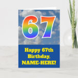 "[ Thumbnail: Cloudy Blue Sky, Rainbow Pattern ""67"" Birthday # Card ]"