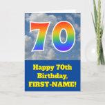 "[ Thumbnail: Cloudy Blue Sky, Rainbow Pattern ""70"" Birthday # Card ]"