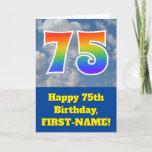 "[ Thumbnail: Cloudy Blue Sky, Rainbow Pattern ""75"" Birthday # Card ]"