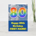 "[ Thumbnail: Cloudy Blue Sky, Rainbow Pattern ""80"" Birthday # Card ]"