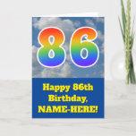 "[ Thumbnail: Cloudy Blue Sky, Rainbow Pattern ""86"" Birthday # Card ]"