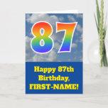 "[ Thumbnail: Cloudy Blue Sky, Rainbow Pattern ""87"" Birthday # Card ]"