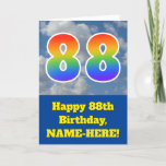 "[ Thumbnail: Cloudy Blue Sky, Rainbow Pattern ""88"" Birthday # Card ]"