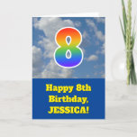 "[ Thumbnail: Cloudy Blue Sky, Rainbow Pattern ""8"" Birthday # Card ]"