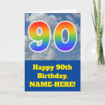 "[ Thumbnail: Cloudy Blue Sky, Rainbow Pattern ""90"" Birthday # Card ]"
